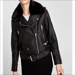 Zara Faux Leather Moto Jacket Detachable Faux Fur